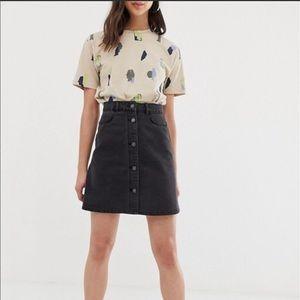 High Waist Washed Black Denim Skirt